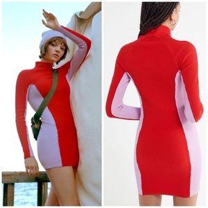 NWT UO Retro 90s Colorblock Ribbed Sweater Dress